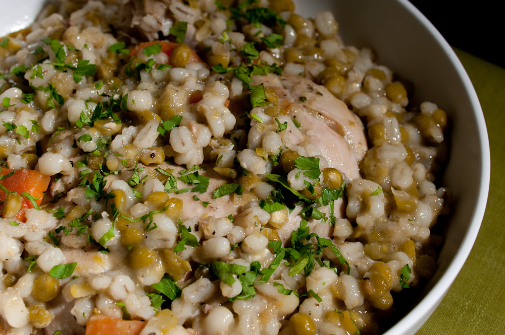 Chicken, thyme and barley stew