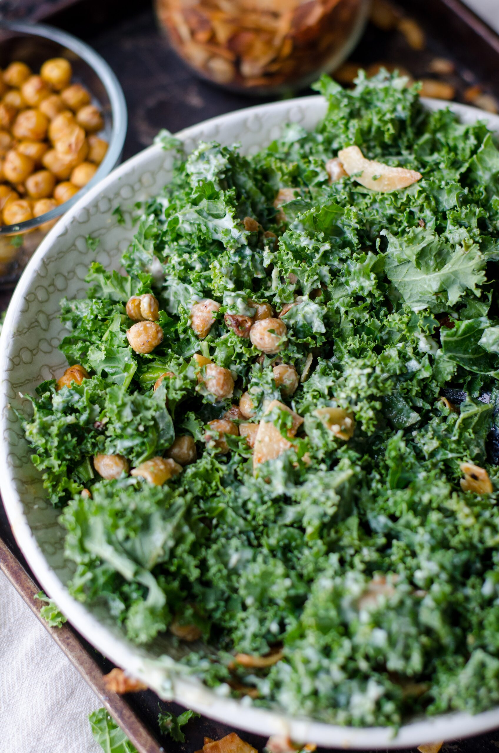 Kale with chickpeas, soy, chilli and garlic