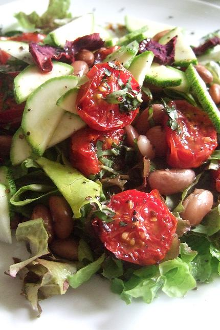 Roasted tomato and pinto bean salad